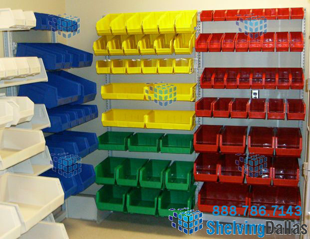 Charming Colored Plastic Bin Small Part Storage Shelving System